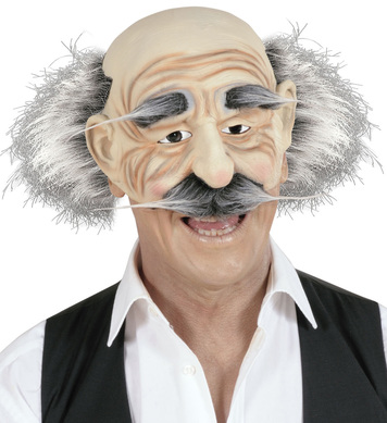 CHINLESS OLD MAN MASK W.HAIR/EYEBROWS/MOUSTACHE