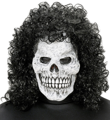 SKULL MASK WITH CURLY HAIR WIG
