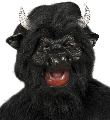 BLACK BULL MASK W/PLUSH FUR