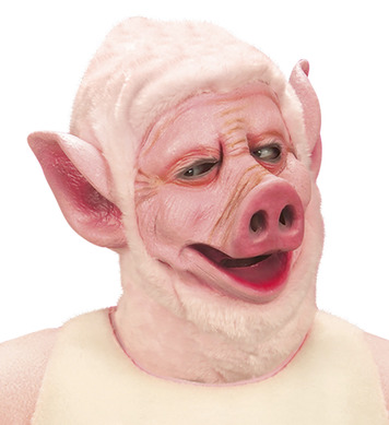 PIG MASK WITH PLUSH HOOD