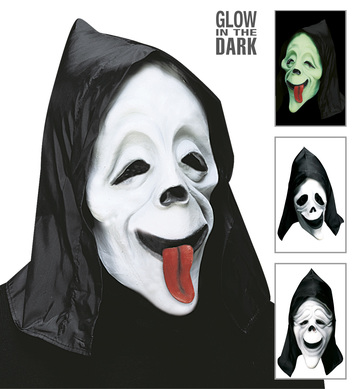 GID HOODED FUNNY GHOST MASK 3styles asstd