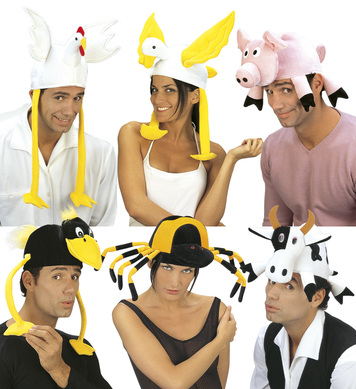 ANIMAL VELVET HAT (cow/pig/chick/duck/crow/spider)