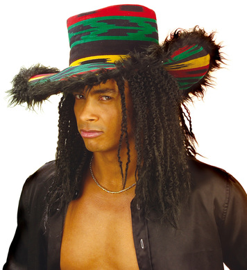 FUNKY RASTA HAT W/PLUSH BORDER