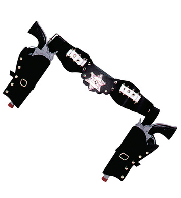 DOUBLE PISTOL HOLSTERS DELUXE ADULT SIZE - BLACK