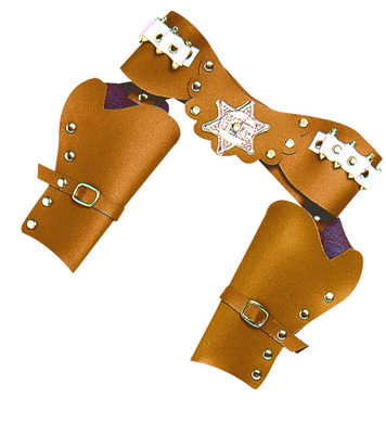 DOUBLE PISTOL HOLSTERS DELUXE ADULT SIZE - BROWN