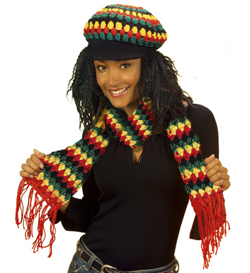 SCARF REGGAE/RASTA 100pc WOOL