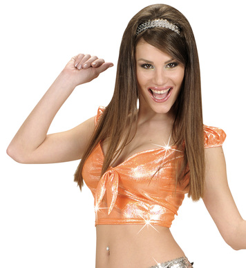 HOLOGRAPHIC SEQUIN RIBBON TOP - ORANGE