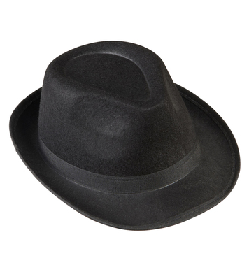 BLACK GANGSTER HAT FELT