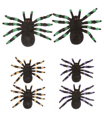 SET OF 2 FLOCKED SPIDERS 12cm - green/purple/orange