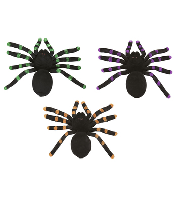 FLOCKED SPIDERS 24cm - green/purple/orange