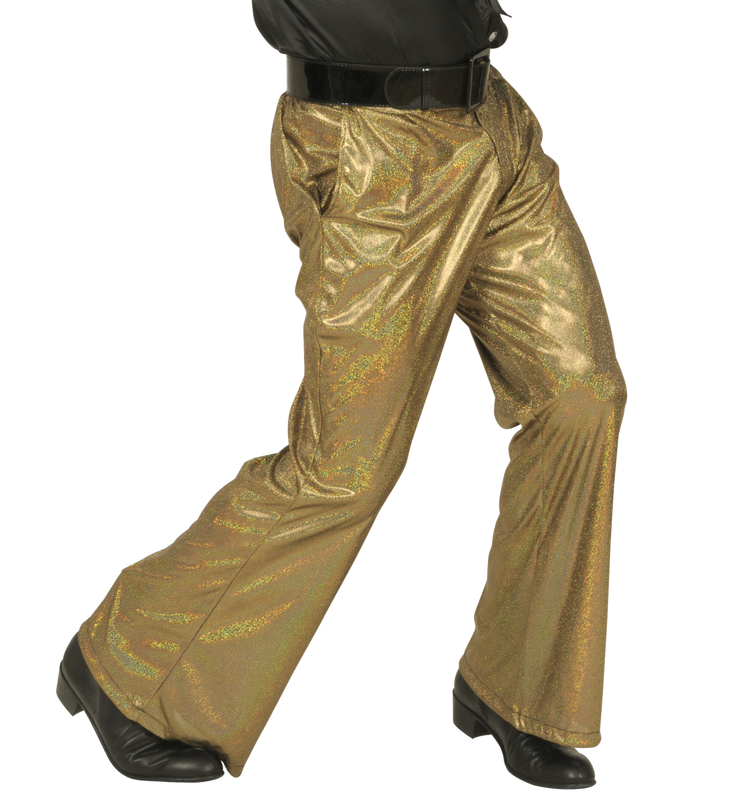 Holographic Sequin Pants - Gold Trouser Pants 70s Fancy Dress