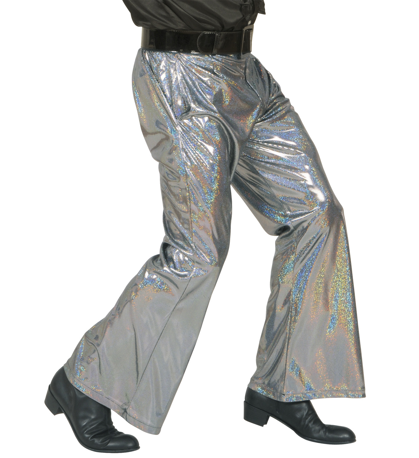 Holographic Sequin Pants - Silver Trouser Pants 70s Fancy Dress