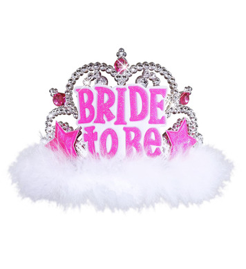 BRIDE TO BE TIARA W/ WHITE MARABOU
