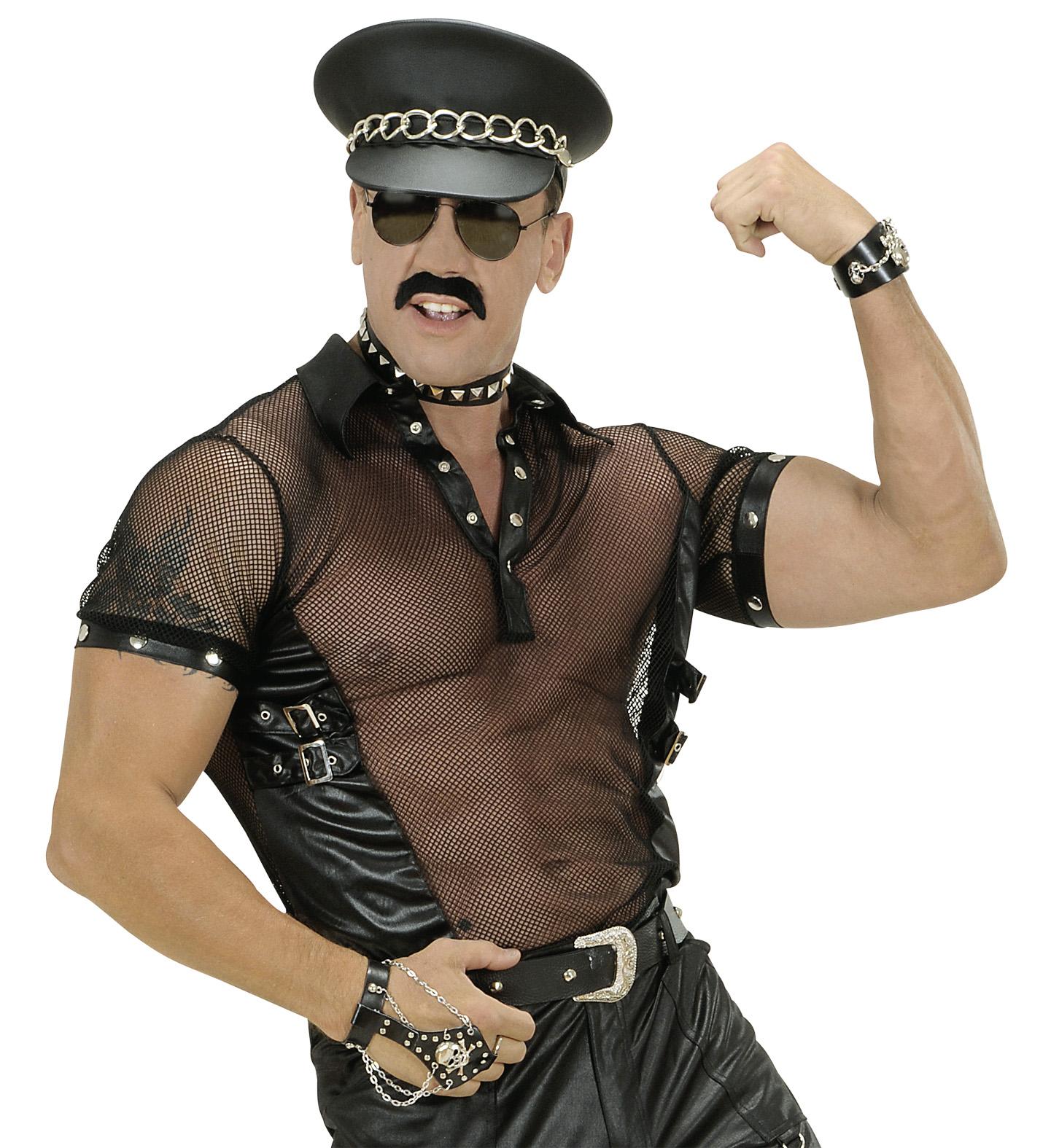 Black Net & Leatherlook T-Shirt Man Size Fancy Dress