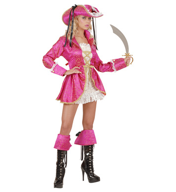 PIRATE CAPTAIN PINK COSTUME (dress coat boot cuffs hat)
