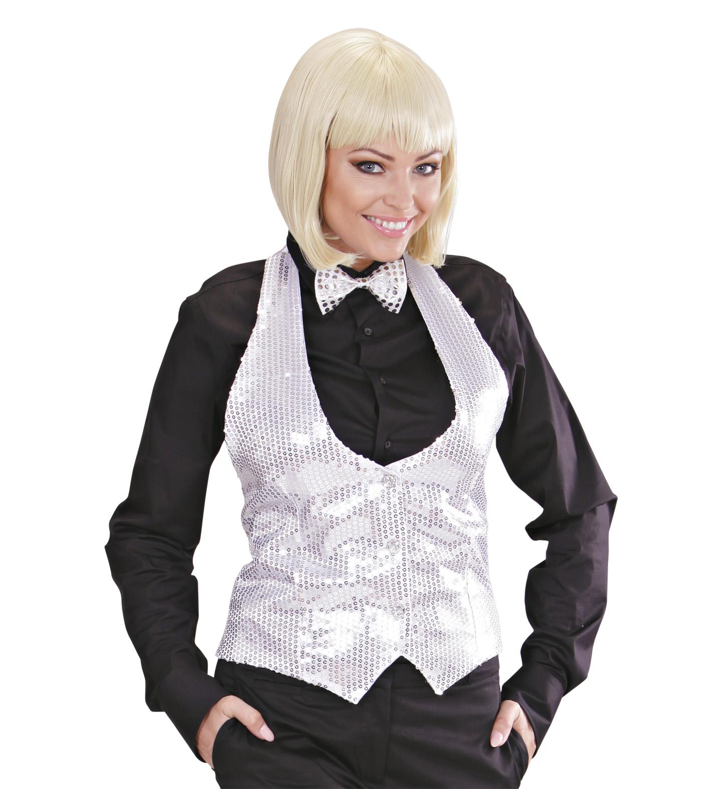 Silver Sequin Vest - Ladies Fancy Dress