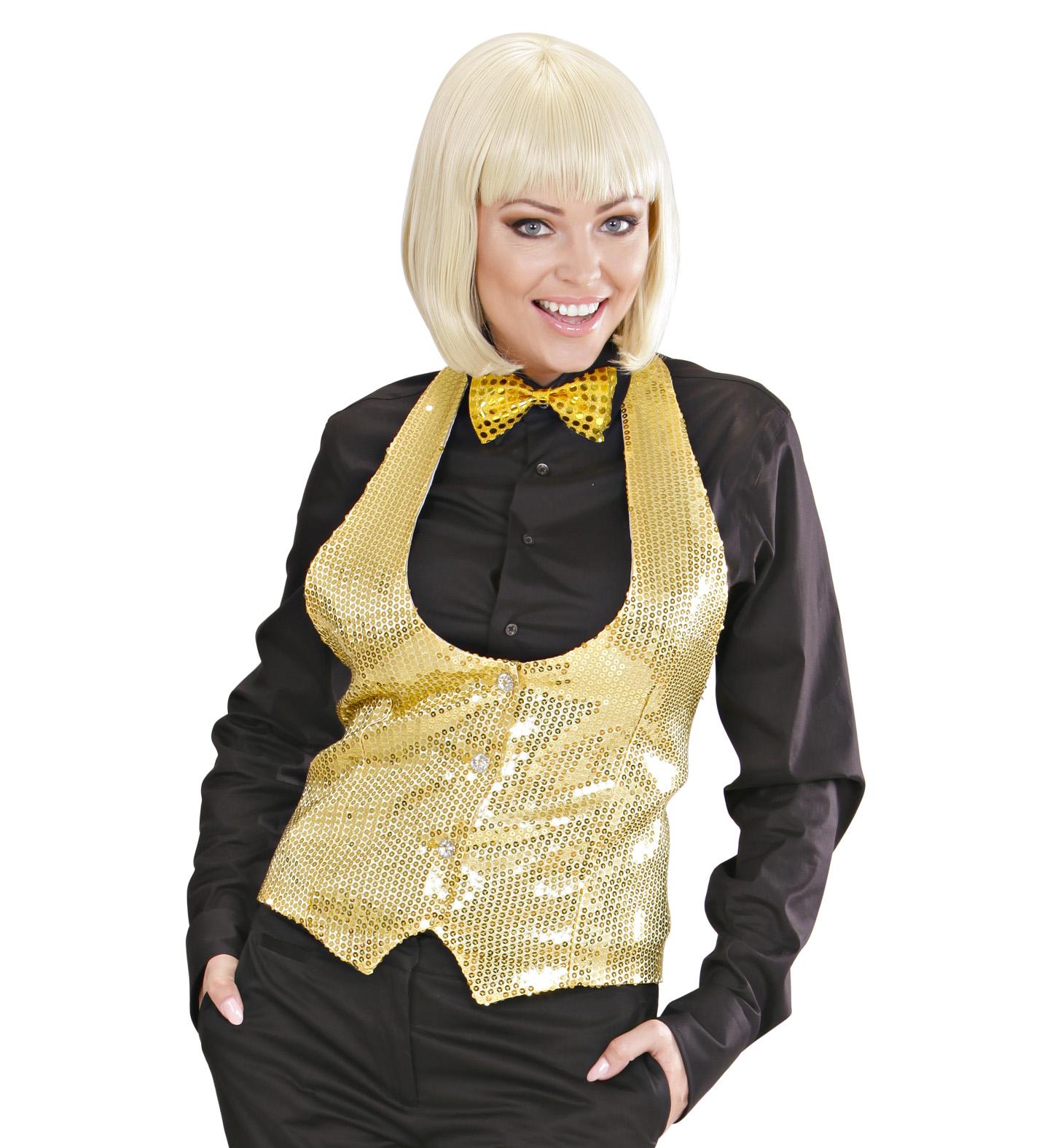 Gold Sequin Vest - Ladies Fancy Dress