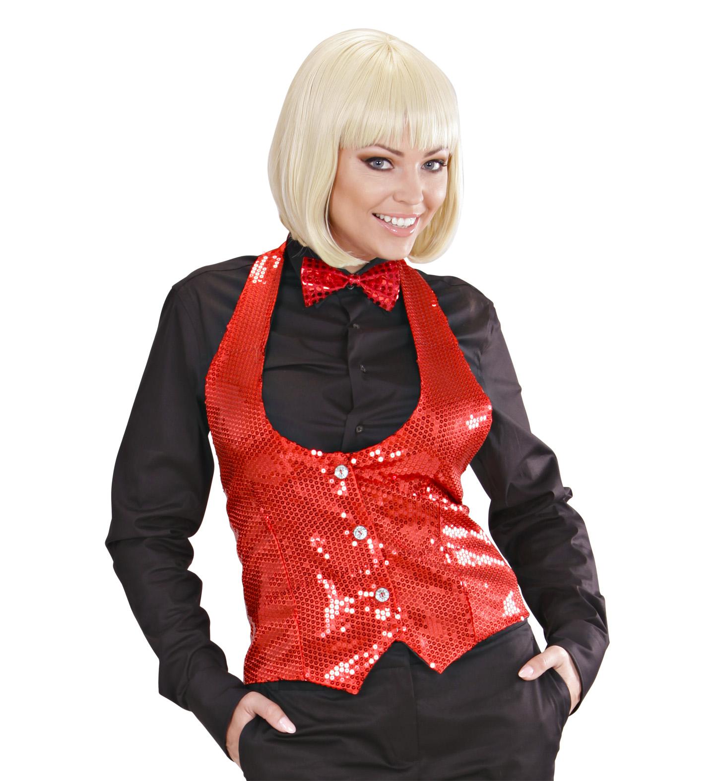 Red Sequin Vest - Ladies Fancy Dress
