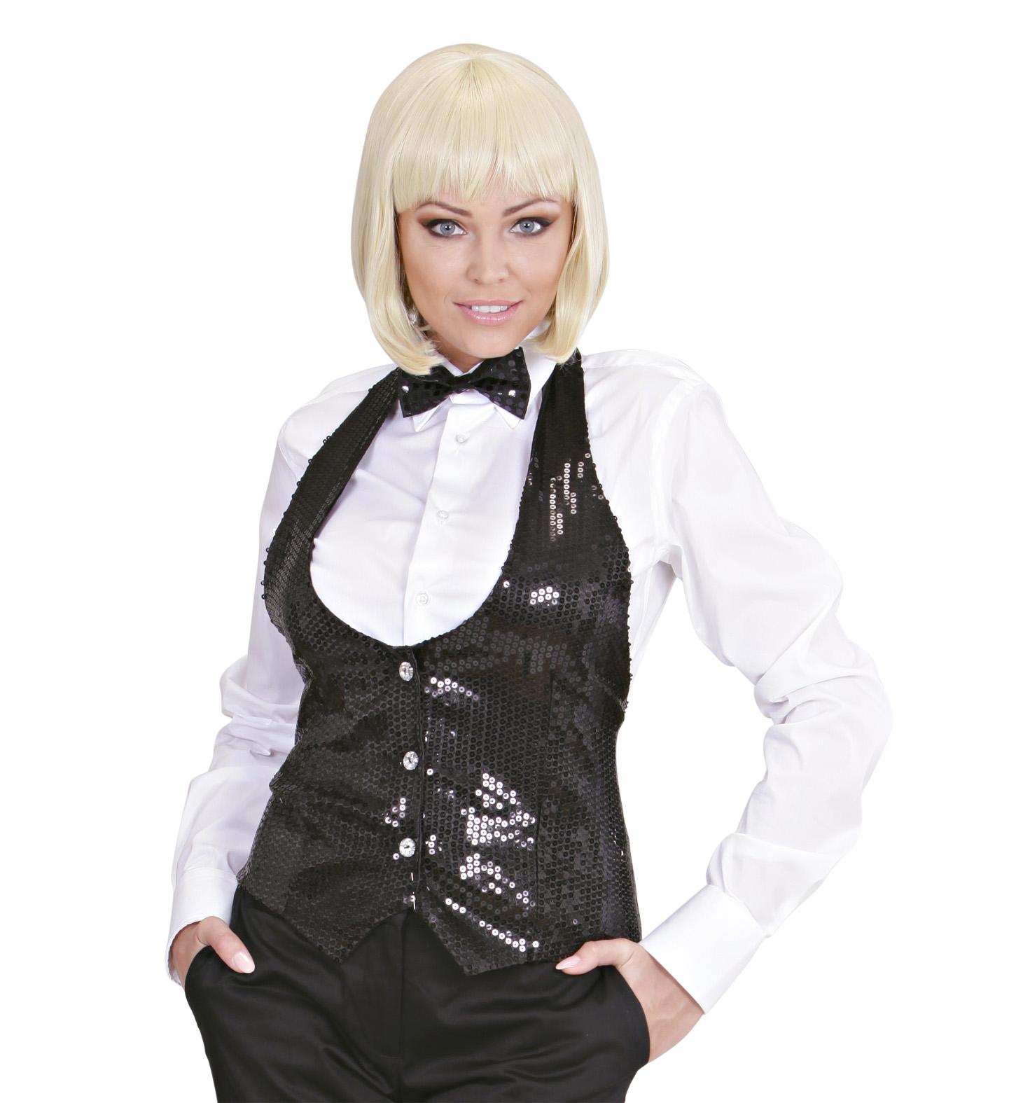 Black Sequin Vest - Ladies Fancy Dress