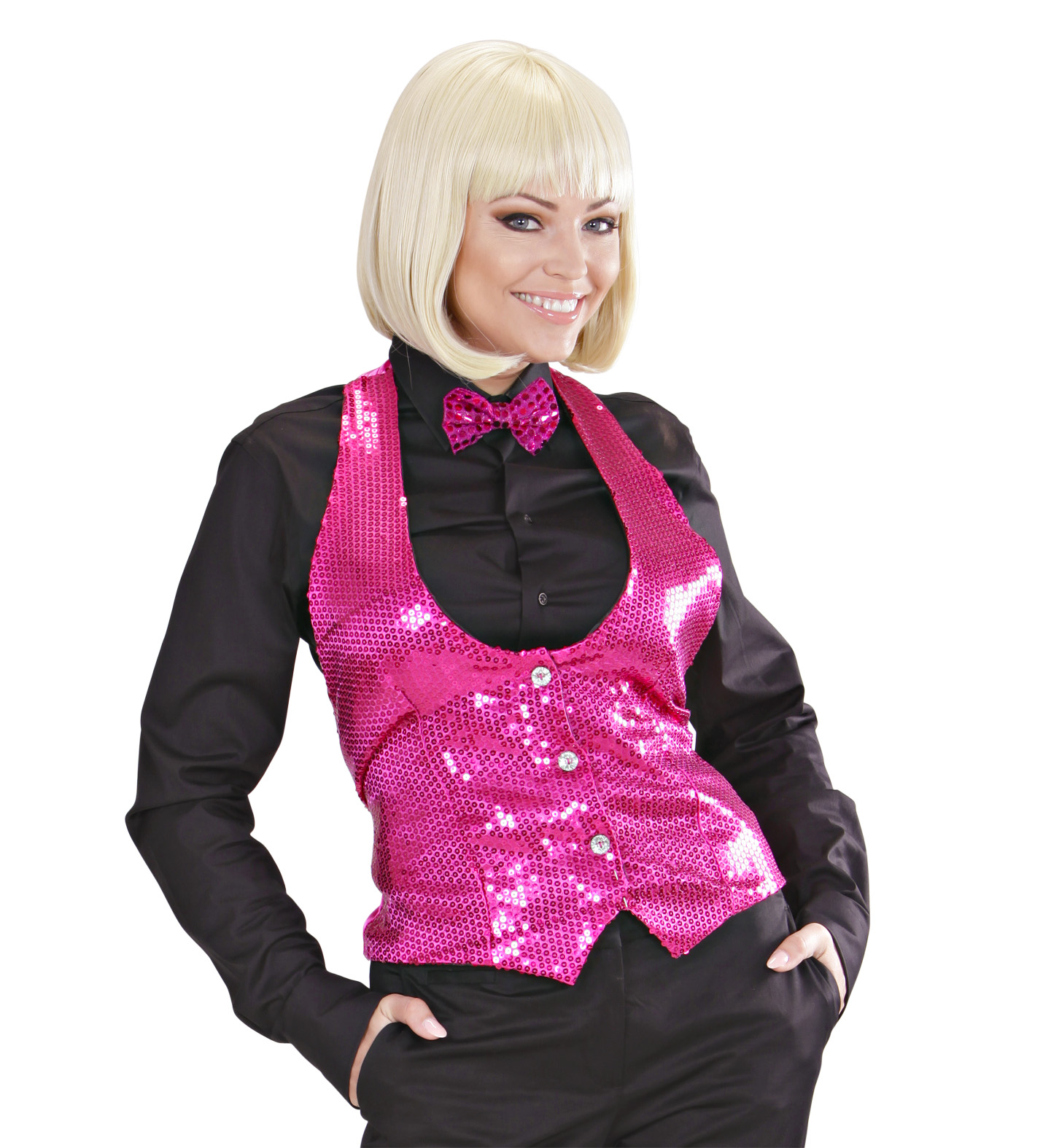 Pink Sequin Vest - Ladies Fancy Dress