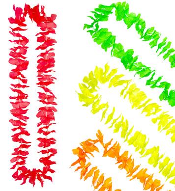 NEON COLOUR HAWAIIAN LEIS (orange/red/green/yellow)