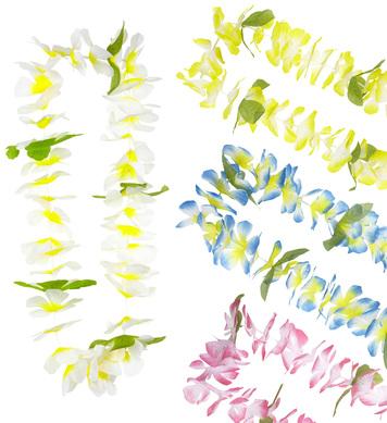 HONOLULU HAWAIIAN LEIS (blue/pink/white/yellow)