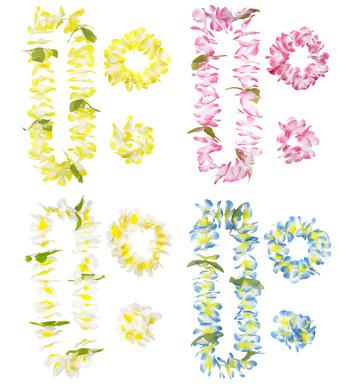 HONOLULU HAWAIIAN SET (lei crown cuff)(blue/pink/white/yell)