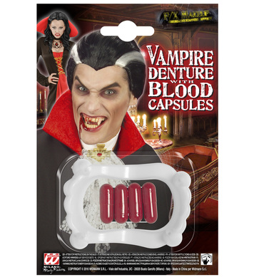 PVC VAMPIRE TEETH WITH 4 BLOOD CAPSULES