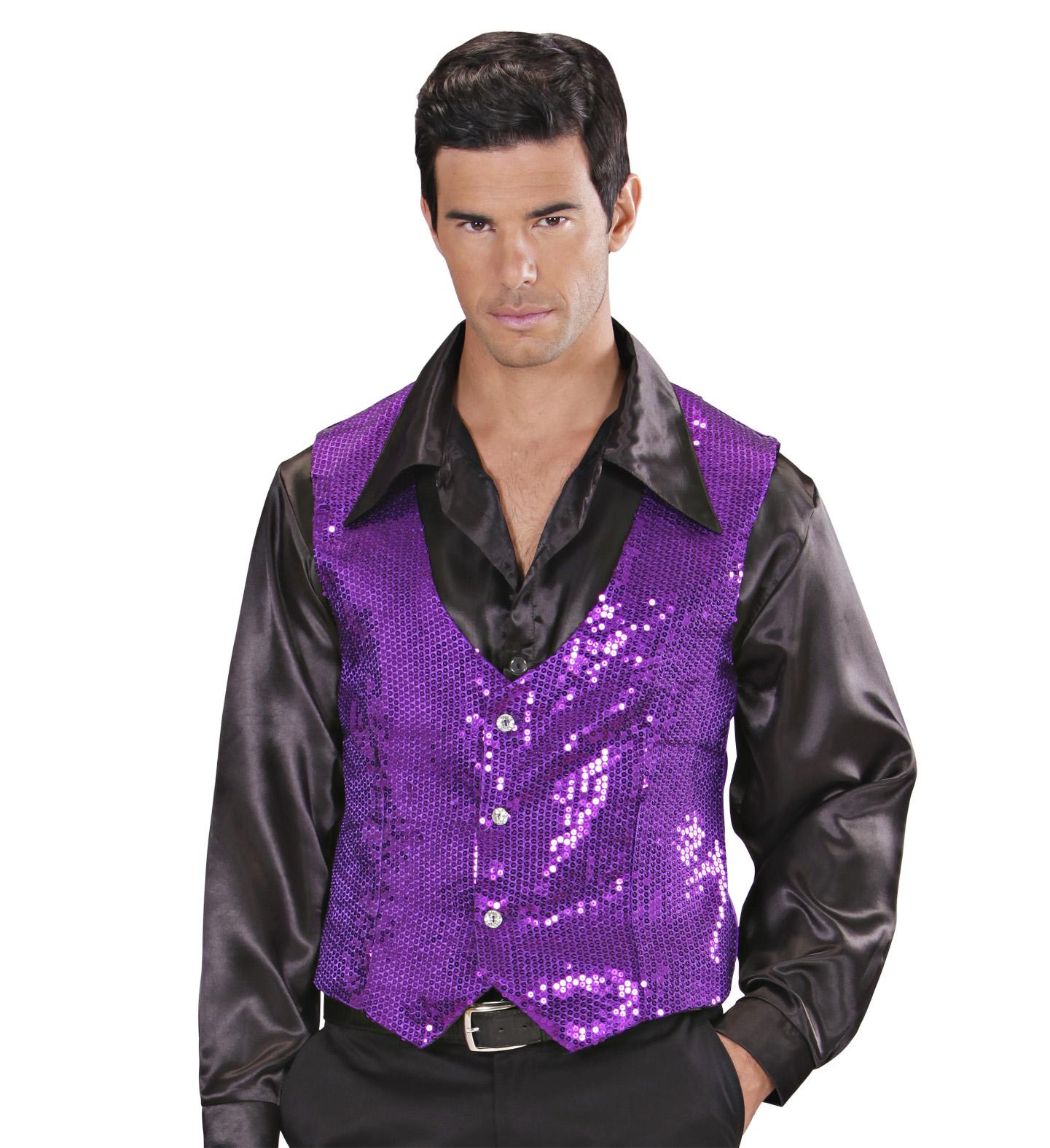 Purple Sequin Vest - Mens Fancy Dress