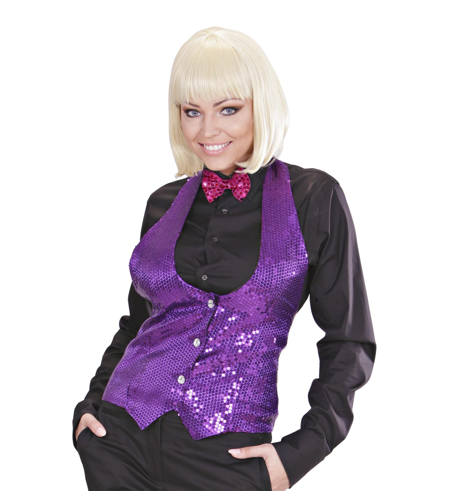 Purple Sequin Vest - Ladies Fancy Dress