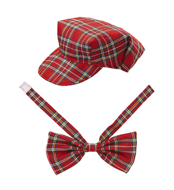RED TARTAN HAT & BOW TIE