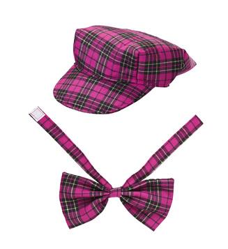 PINK TARTAN HAT & BOW TIE