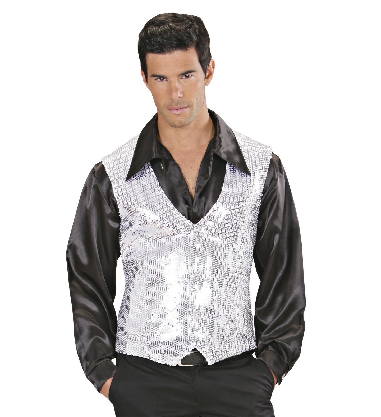 Silver Sequin Vest - Mens Fancy Dress