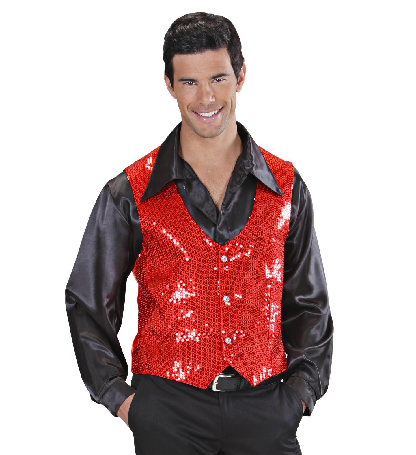 Red Sequin Vest - Mens Fancy Dress