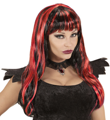 BLACK / RED STRIPED HALLOWEEN WIG