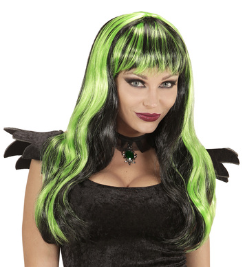 BLACK / GREEN STRIPED HALLOWEEN WIG