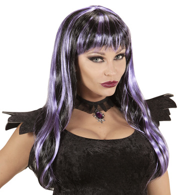 BLACK / PURPLE STRIPED HALLOWEEN WIG