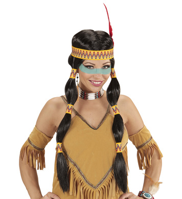 INDIAN SQUAW WIG WITH PLAITS AND FEATHER HEADBAND