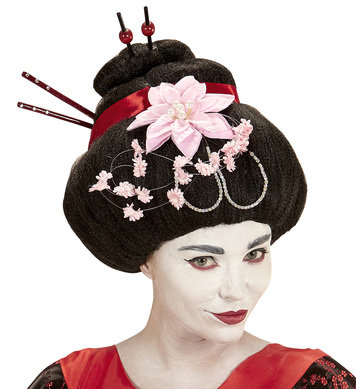 GEISHA WIG WITH FLOWER AND CHOPSTICK DECORATIONS