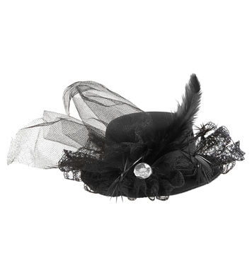 BLACK MINI TOP HAT W/ DIAMANTE TULLE & FEATHERS