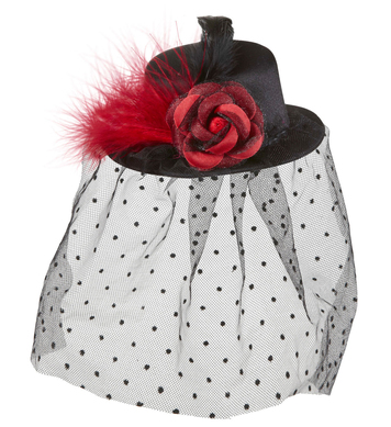 BLACK MINI TOP HAT W/ ROSE TULLE VEIL