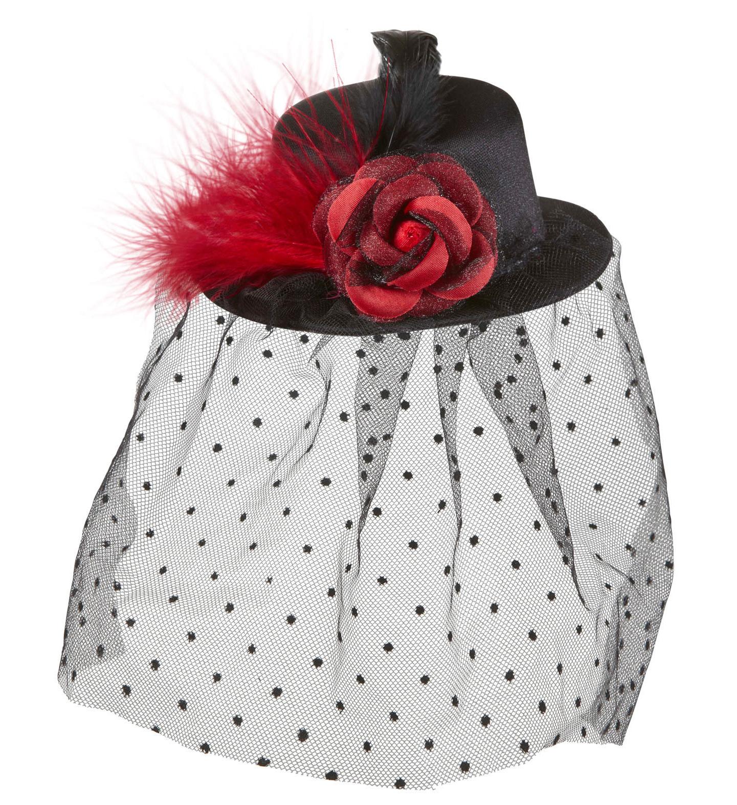 Black Mini Top Hat with Rose Tulle Veil 20s 30s Fancy Dress