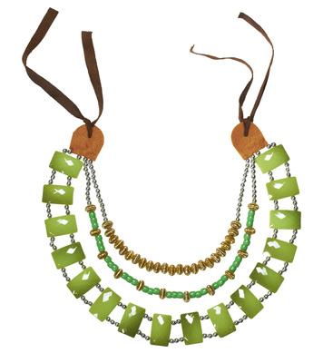 TRIBAL NECKLACE WITH GREEN GEMSTONES