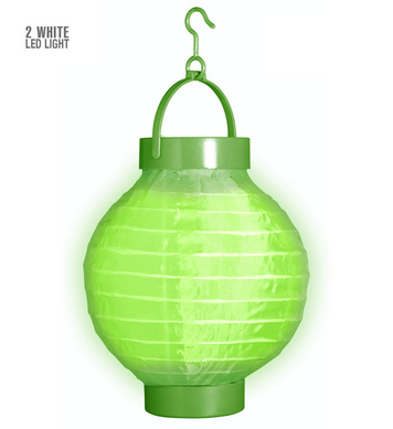 GREEN CLOTH LIGHT-UP LAMPION W/LED LIGHTS 15 cm