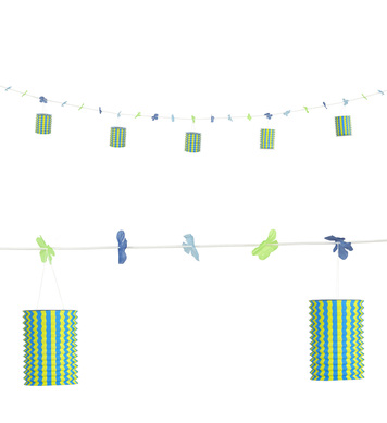 BLUE/YELLOW LANTERN GARLAND WITH FLOWERS 3 m