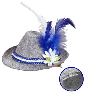 MINI BAVARIAN FEDORA WITH EDELWEISS AND FEATHERS