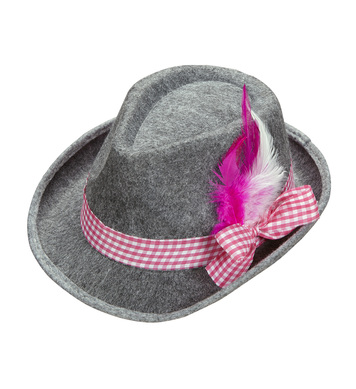 BAVARIAN FEDORA WITH PINK FEATHERS
