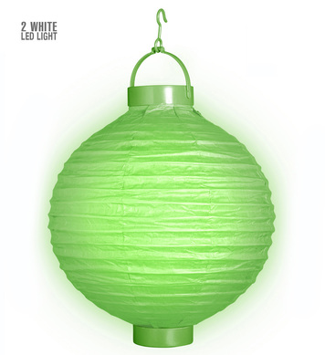 GREEN CLOTH LIGHT-UP LAMPION W/LED LIGHTS 30 cm