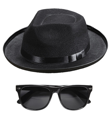 BLUES MAN SET (hat, glasses)