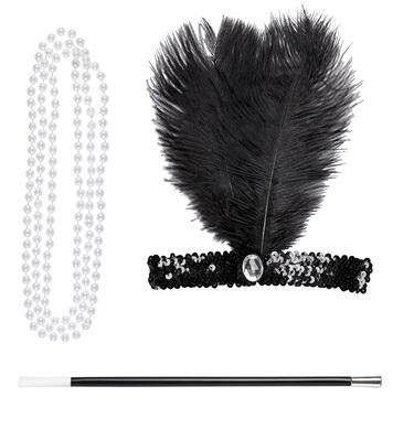 FLAPPER SET (sequin headband, necklace, cigarette holder)